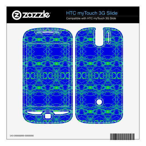 Bright Blue lacey green pattern HTC myTouch 3G Slide Skin