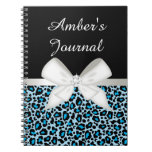 Bright Blue Leopard Print and Ribbon Spiral Notebook