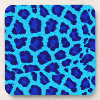 Bright Blue Leopard Print  Coasters