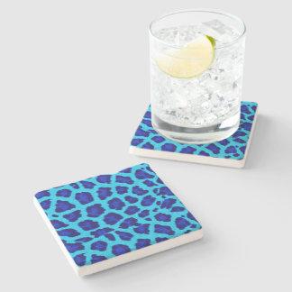 Bright Blue Leopard Print  Stone Coaster