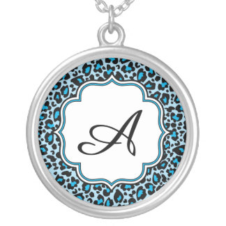 Bright Blue Leopard Spot Monogram Silver Plated Necklace