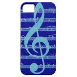Bright blue light treble clef music iphone 5 case