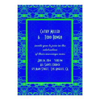 Bright blue Lime Green Pattern Wedding Custom Invitation
