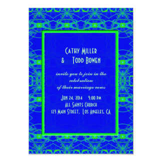 Bright blue Lime Green Pattern Wedding 5x7 Paper Invitation Card