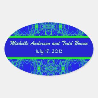 Bright blue Lime Green Pattern Wedding Oval Sticker