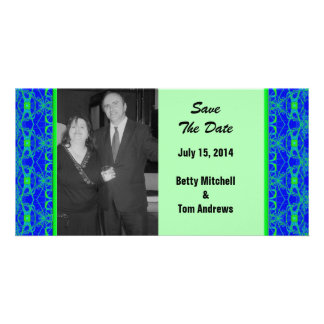Bright blue Lime Green Pattern Wedding Photo Card Template