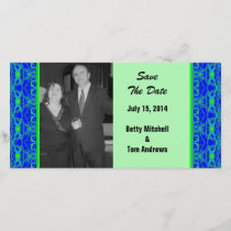 Bright blue Lime Green Pattern Wedding Save The Date