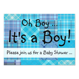 "Bright Blue Madras Plaid Baby Boy Shower 4.5"" X 6.25"" Invitation Card"