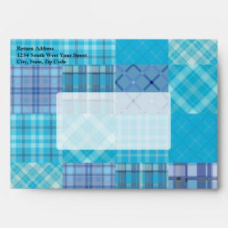 Bright Blue Madras Plaid Envelope