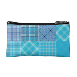 Bright Blue Madras Plaid Makeup Bag