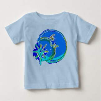 Bright Blue Man in the Moon Kid's Tshirt