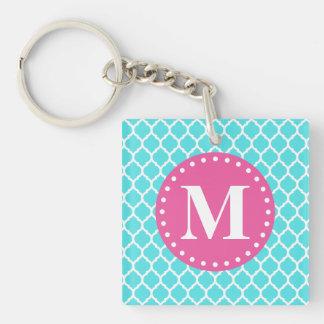 Bright Blue Moroccan Lattice Pink Monogram Keychain