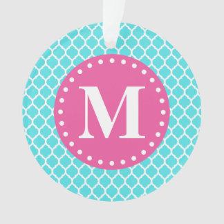 Bright Blue Moroccan Lattice Pink Monogram Ornament