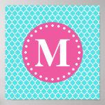 Bright Blue Moroccan Lattice Pink Monogram Print