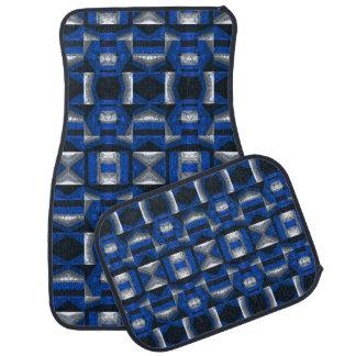 Bright Blue Mosaic Pattern Car Mats Set of 4