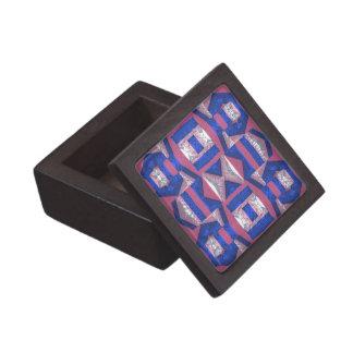 Bright Blue Mosaic Pattern Wood Gift Box 2x2