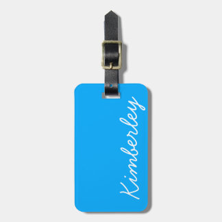 Bright Blue Neon Monogram Trendy Fashion Colors Tag For Luggage