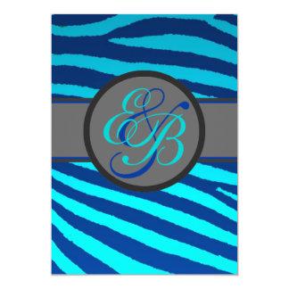 Bright blue neon zebra stripes wedding invitations