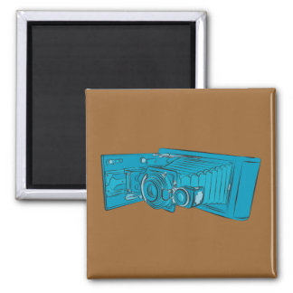 Bright Blue Old Camera 2 Inch Square Magnet