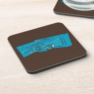 Bright Blue Old Camera Coaster