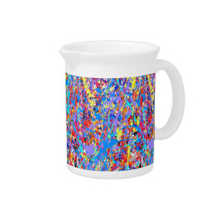 Bright Blue Paint Splatter Abstract Beverage Pitchers