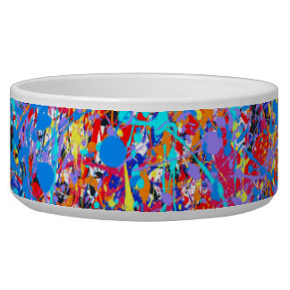 Bright Blue Paint Splatter Abstract Bowl