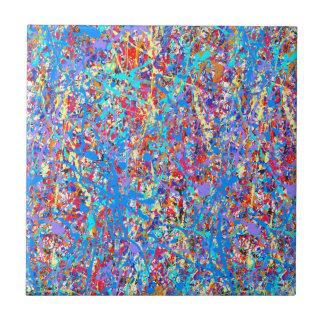 Bright Blue Paint Splatter Abstract Ceramic Tile