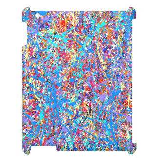 Bright Blue Paint Splatter Abstract Cover For The iPad 2 3 4