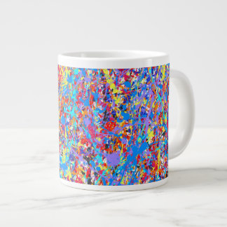 Bright Blue Paint Splatter Abstract Giant Coffee Mug