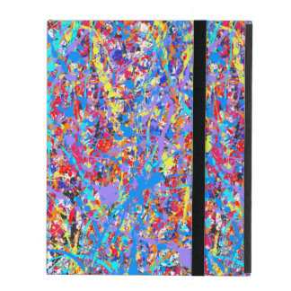 Bright Blue Paint Splatter Abstract iPad Case