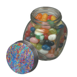 Bright Blue Paint Splatter Abstract Jelly Belly Candy Jar