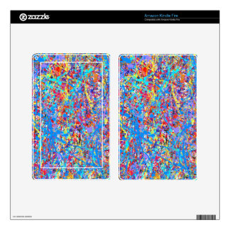 Bright Blue Paint Splatter Abstract Kindle Fire Decal