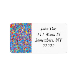 Bright Blue Paint Splatter Abstract Label