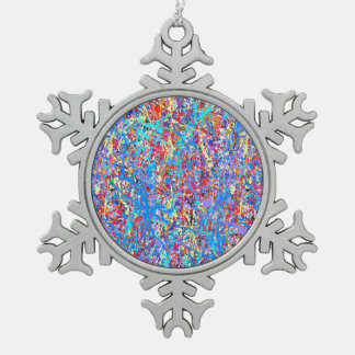 Bright Blue Paint Splatter Abstract Snowflake Pewter Christmas Ornament