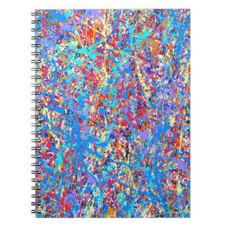 Bright Blue Paint Splatter Abstract Spiral Notebook