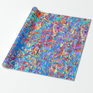 Bright Blue Paint Splatter Abstract Wrapping Paper