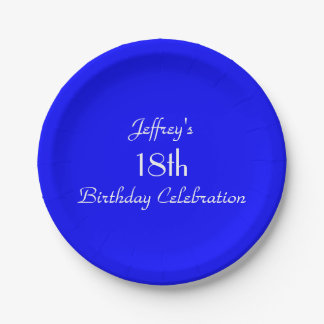Bright Blue Paper Plates, 18th Birthday Party Paper Plate