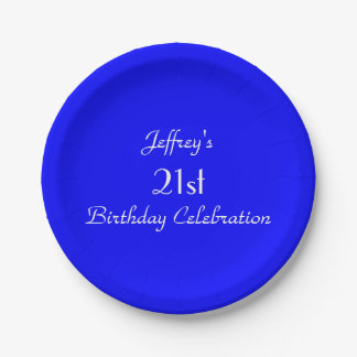 Bright Blue Paper Plates, 21st Birthday Party 7 Inch Paper Plate