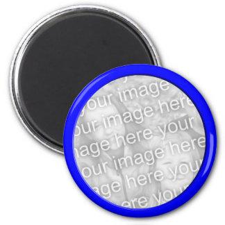 bright blue photo frame 2 inch round magnet