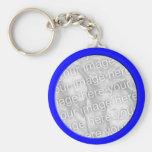 bright blue  photo frame basic round button keychain