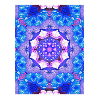 Bright Blue Pink Abstract Pattern Letterhead