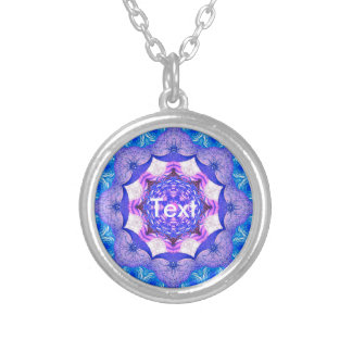 Bright Blue Pink Abstract Pattern Round Pendant Necklace