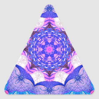 Bright Blue Pink Abstract Pattern Triangle Sticker