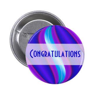 bright blue pink Congratulations 2 Inch Round Button
