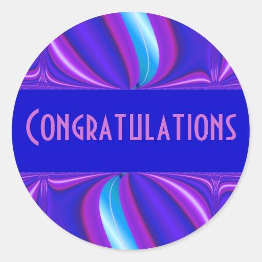 bright blue pink Congratulations Round Stickers