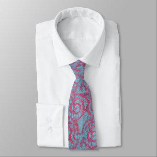 Bright Blue Pink Funky Batik Spirals Pattern Tie