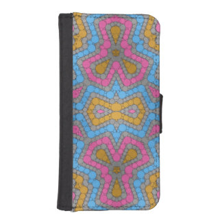 Bright Blue Pink Yellow Abstract Wallet Phone Case For iPhone SE/5/5s