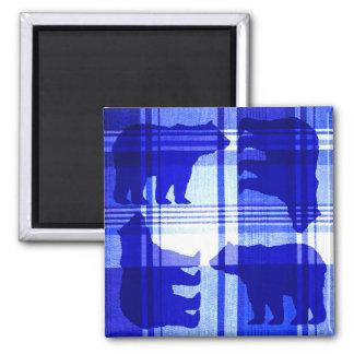Bright blue plaid bears rustic magnet