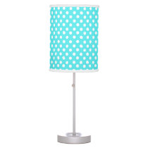 Bright Blue polka dot pattern Table Lamp