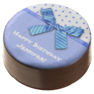 Bright Blue Polka Dot Personalized Chocolate Covered Oreo
